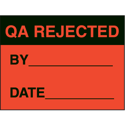 QA Rejected By Date Fluorescent Paper Labels