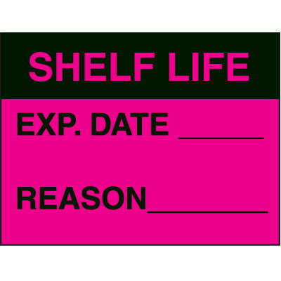 Shelf Life Exp. Date Reason Fluorescent Paper Labels