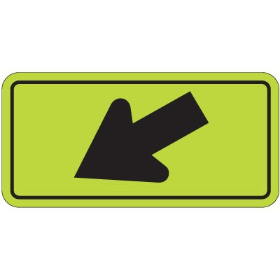 Fluorescent Pedestrian Signs - Left Down Arrow