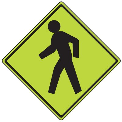 Fluorescent Pedestrian Signs - Ped Xing (Graphic)