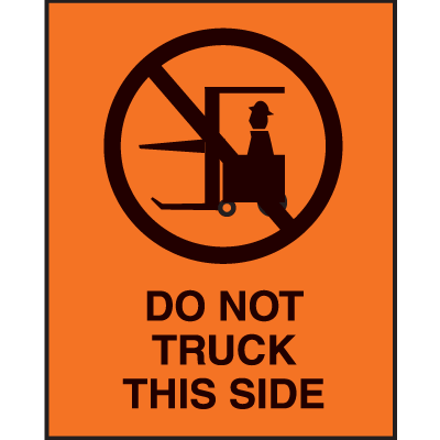 Do Not Truck This Side Fluorescent Shipping Labels