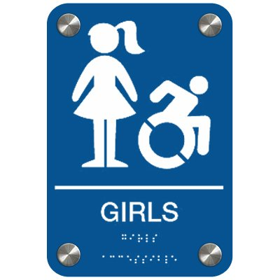 Girls with Graphic (Dynamic Accessibility) - Premium ADA Restroom Signs