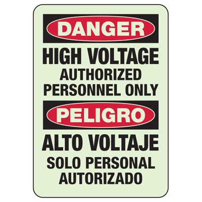 Bilingual Danger High Voltage - Electrical Safety Sign