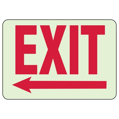 Luminous Exit Signs - Left Arrow