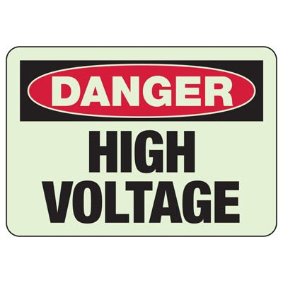 Luminous Exit and Path Marker Signs - Danger High Voltage