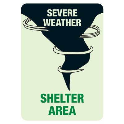 Luminous Exit and Path Marker Signs - Severe Weather Shelter Area