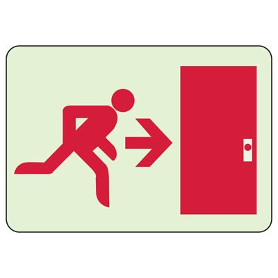 Luminous Exit and Path Marker Signs - Door Exit Route (Right)
