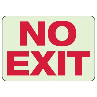 Luminous Exit and Path Marker Signs - No Exit