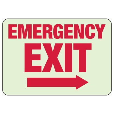 Emergency Exit Arrow Right - Luminous Exit And Path Marker Signs