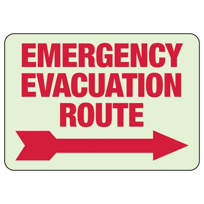 Emergency Evacuation Route Arrow Right - Glow-In-The-Dark Exit Signs