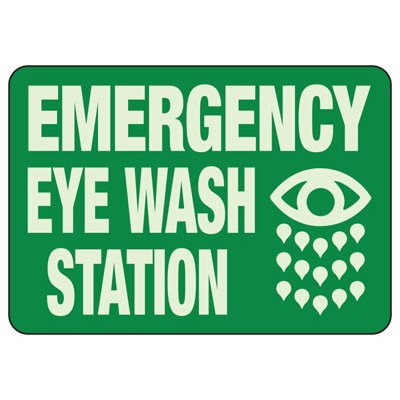 Emergency Eye Wash Station - Glow-In-The-Dark Safety Signs