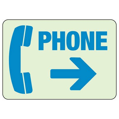 Phone Arrow Right - Glow-In-The-Dark Phone Signs