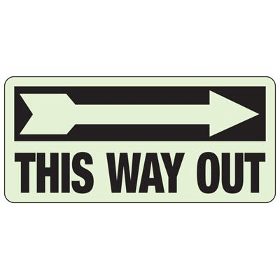 This Way Out Arrow Right - Glow-In-The-Dark Exit Signs