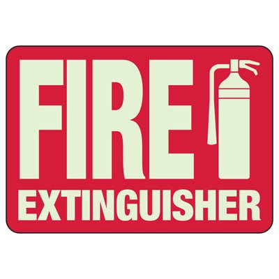 Fire Extinguisher - Glow-In-The-Dark Fire Extinguisher Signs