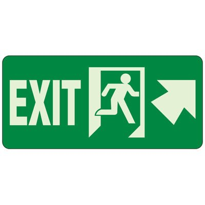 Exit (Up Arrow Right) - Exit and Fire Glow Signs