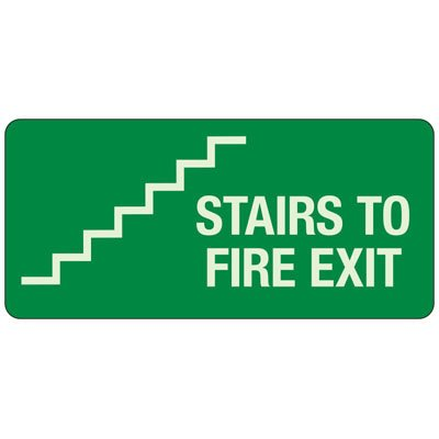 Stairs To Fire Exit - Exit and Fire Glow Signs