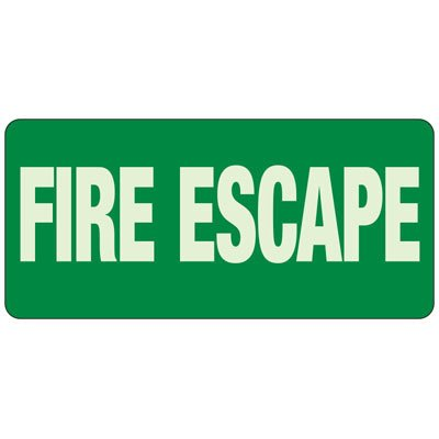 Fire Escape - Exit and Fire Glow Signs