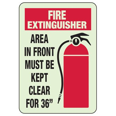 Area In Front With Graphic - Glow-In-The-Dark Fire Extinguisher Signs