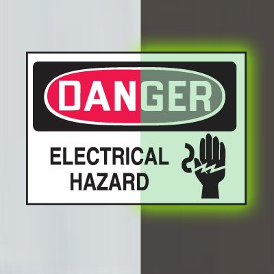 Glow-In-The-Dark Electrical Safety Signs- Danger Electrical Hazard