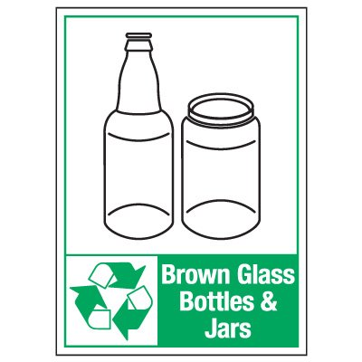 Graphic Recycling Labels - Brown Glass Bottles Jars