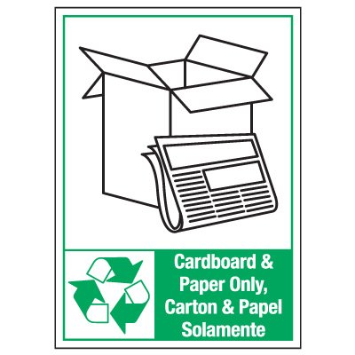 Bilingual Graphic Recycling Labels - Cardboard And Paper Only