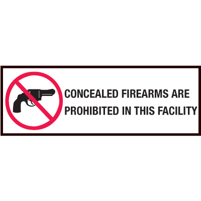 Gun Prohibition Sign - Plastic