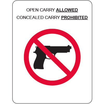 Kansas Concealed Carry Signs - Open Carry Allowed With Graphic