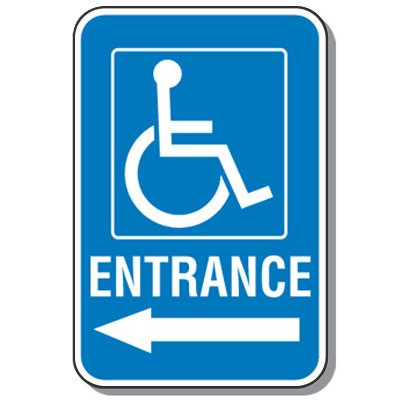 Handicap Signs - Entrance (Symbol of Access & Left Arrow)