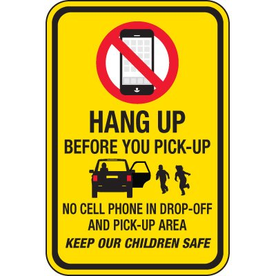Hang Up Before You Pick Up (Yellow) Signs