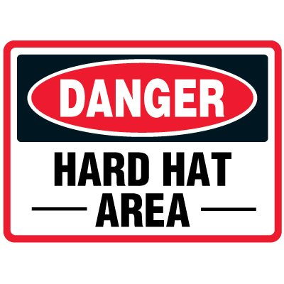 Hard Hat Area - Traffic Cone Signs
