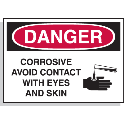 Hazard Warning Labels - Danger Corrosive Avoid Contact With Eyes And Skin