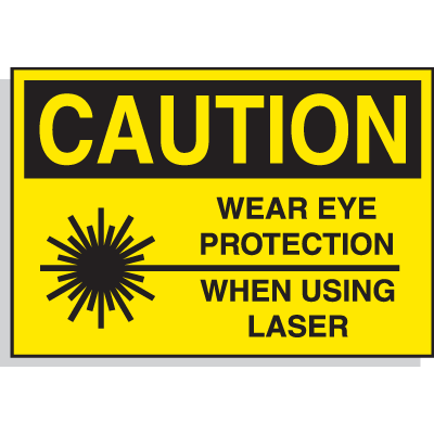 Hazard Warning Labels - Caution Wear Eye Protection When Using Laser