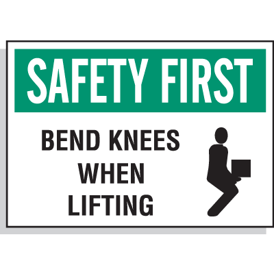 Hazard Warning Labels - Safety First Bend Knees When Lifting (With Graphic)