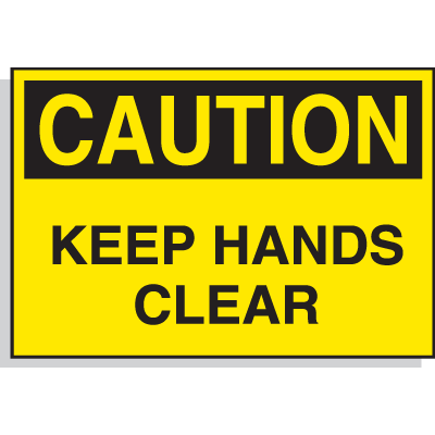 Hazard Warning Labels - Caution Keep Hands Clear