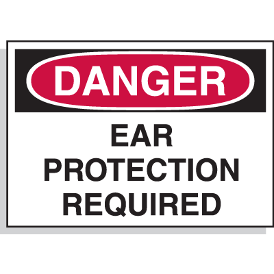 Hazard Warning Labels - Danger Ear Protection Required