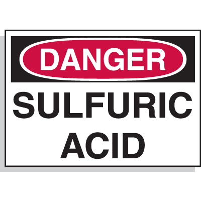 Hazard Warning Labels - Danger Sulfuric Acid