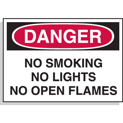 Hazard Warning Labels - Danger No Smoking No Lights No Open Flames
