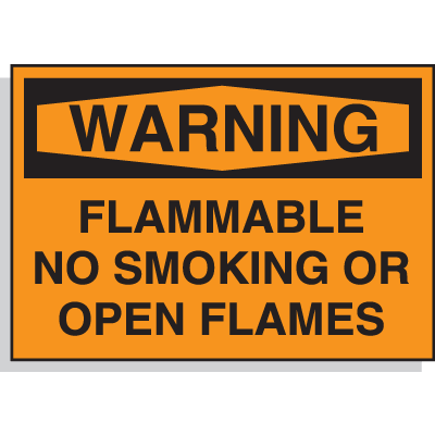 Hazard Warning Labels - Warning Flammable No Smoking Or Open Flames