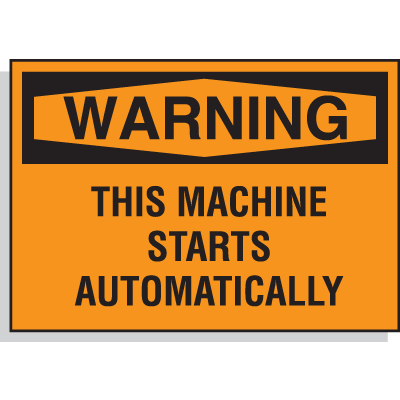 Hazard Warning Labels - Warning This Machine Starts Automatically