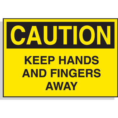 Hazard Warning Labels - Caution Keep Hands And Fingers Away