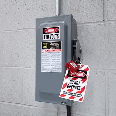 Hazard Warning Labels - Danger 110 Volts