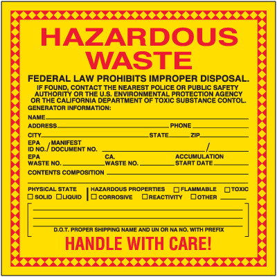 State of California Hazardous Waste Container Labels