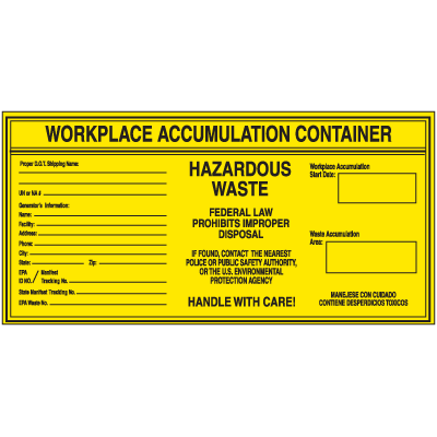 Workplace Hazardous Waste Container Labels