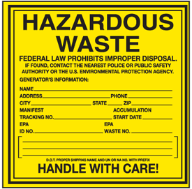 Hazardous Waste Container Labels - Hazardous Waste EPA
