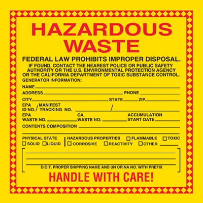 Hazwaste Container Labels - Hazardous Waste CA Approved
