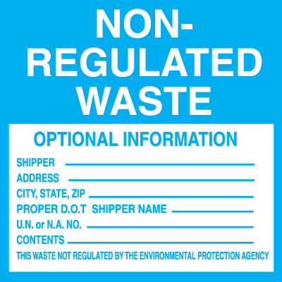 Non-Regulated Waste Labels - Roll of 250