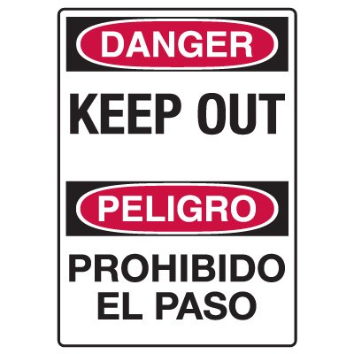 Heavy Duty Bilingual Security Signs - Danger/Peligro Keep Out