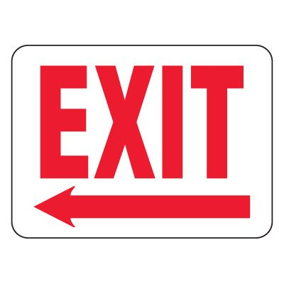 Heavy-Duty Emergency Rescue & Evacuation Signs - Exit with Left Arrow