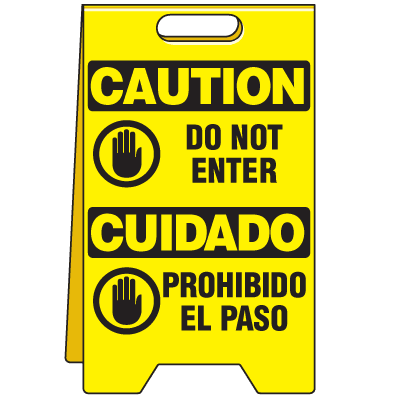Bilingual Heavy Duty Floor Stand Signs - Caution Do Not Enter