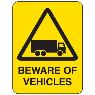 Heavy-Duty Hazardous Work Site Signs - Beware Of Vehicles